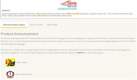 Master Rem Mobil Honda cek recall airbag honda indonesia cara