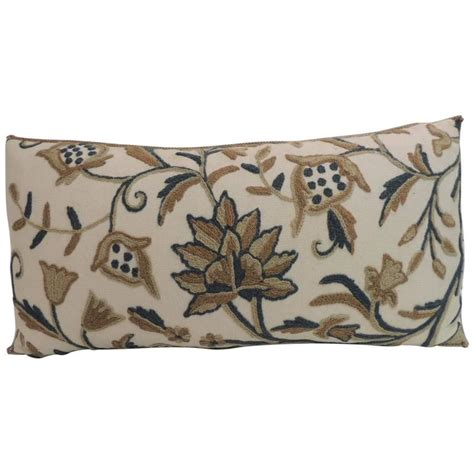 Decorative Bolster Pillow by Vintage Crewel Work Floral Decorative Bolster Pillow For