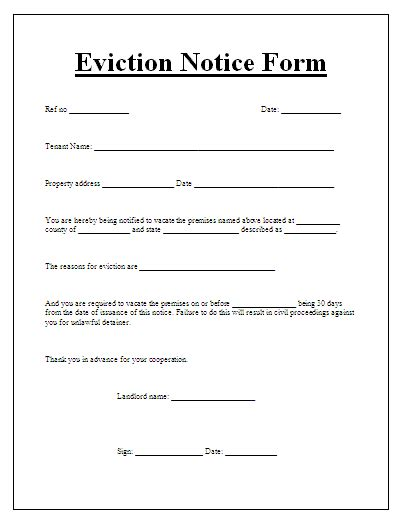 tenant eviction letter template eviction notice form free word s templates