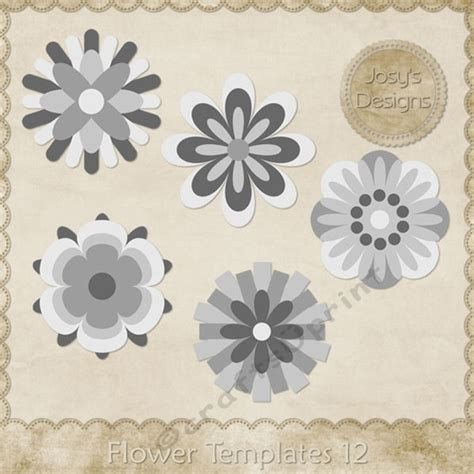 Layered Flower Card Template by Flower Layered Templates Pkg 12 Cup748525 70864