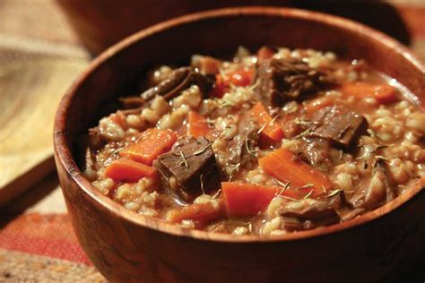 beef and barley stew recipe alton brown food network beef barley soup legendary recipes