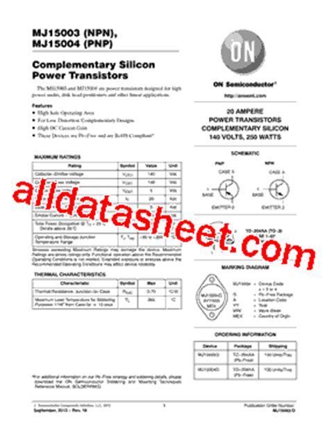 transistor mj15003 datasheet mj15003 datasheet pdf on semiconductor