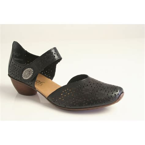 rieker rieker black heeled shoe with velcro fastening and