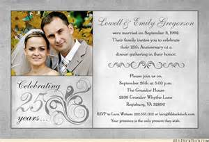 25th wedding anniversary invitation cards designs fashionable 25th anniversary photo invitation wedding