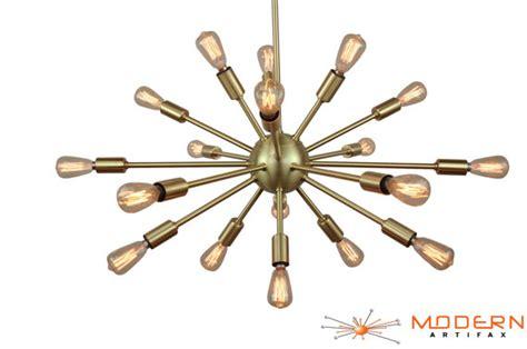 satin brushed brass atomic sputnik starburst light fixture sputnik atomic starburst chandelier satin brass mid century