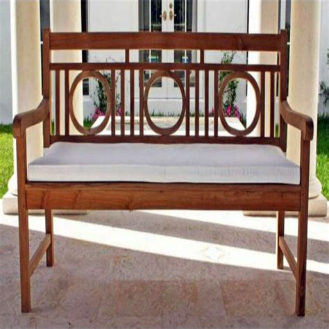 teak outdoor bench with cushion
