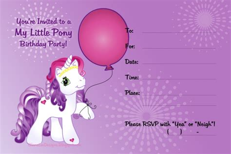 my pony birthday card template my pony free printable invitation templates