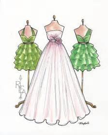 fashion illustration blush pink wedding gown por robinelizabethart