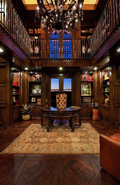 lofted library  world office space love  dark wood