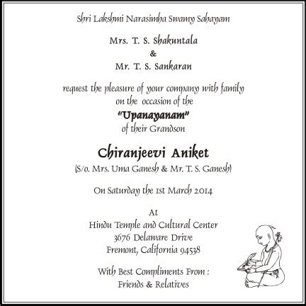 Invitation Letter Housewarming Ceremony Thread Ceremony Invitation Wording Sle Text Parekh Cards