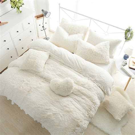 lambs wool comforter solid color princess bedding sets luxury 3 4 6 7pcs snow