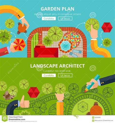 landscape garden design concept poster stock vector