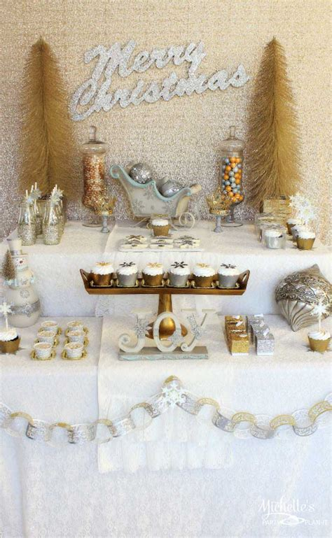 kara s party ideas gold silver christmas dessert table