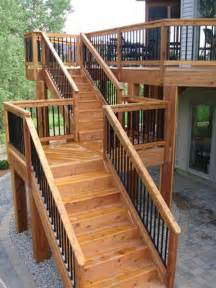 high deck with long staircase with landing nice railing deck stairs pinterest stains