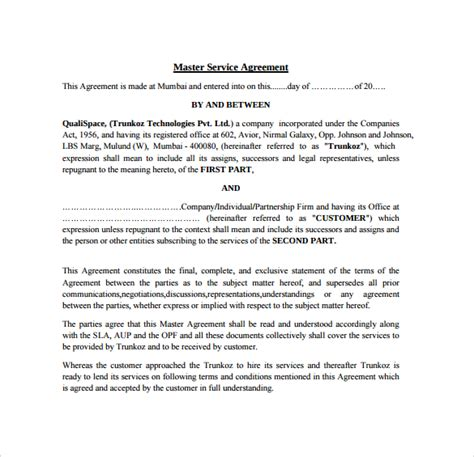 master services agreement template master service agreement 15 free documents in