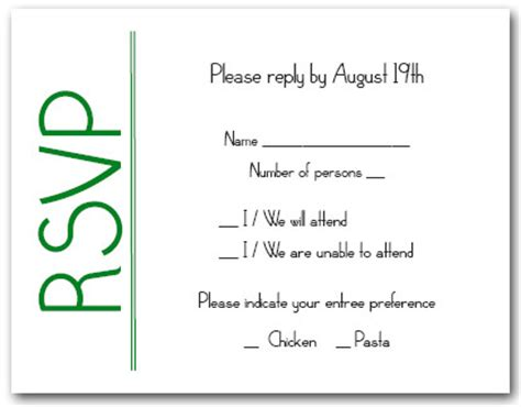 Response Letter For Birthday Green On White Rsvp Cards Reply Cards Response Cards