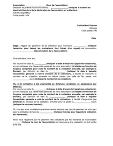 Modele Lettre De Rappel Administrative Lettre De Rappel De R 232 Glement De La Cotisation 224 Une