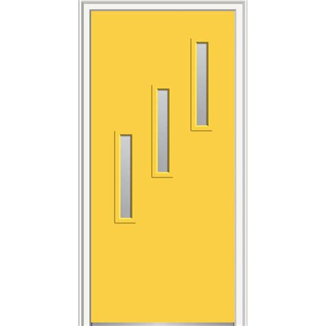 Mmi door 30 in x 80 in davina clear low e glass right hand 3 lite vertical modern painted