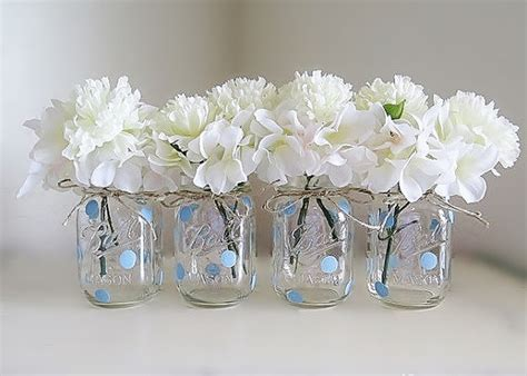 Jar Baby Shower Decorations by Blue Polka Dot Jar Centerpieces Baby Shower Jars