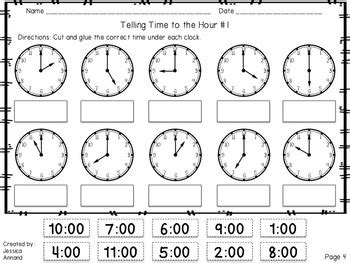 clock worksheets hour and half hour telling time worksheets to the hour and half hour by