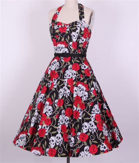 Rockabilly Skull And Rose Halterneck Swing Dress 163 24 99
