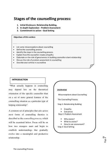 The counselling process; Stages of the counselling process