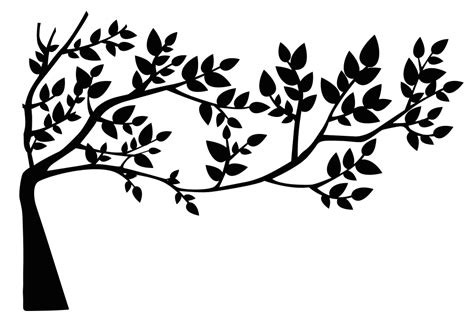 onlinelabels clip art tree and leaves silhouette