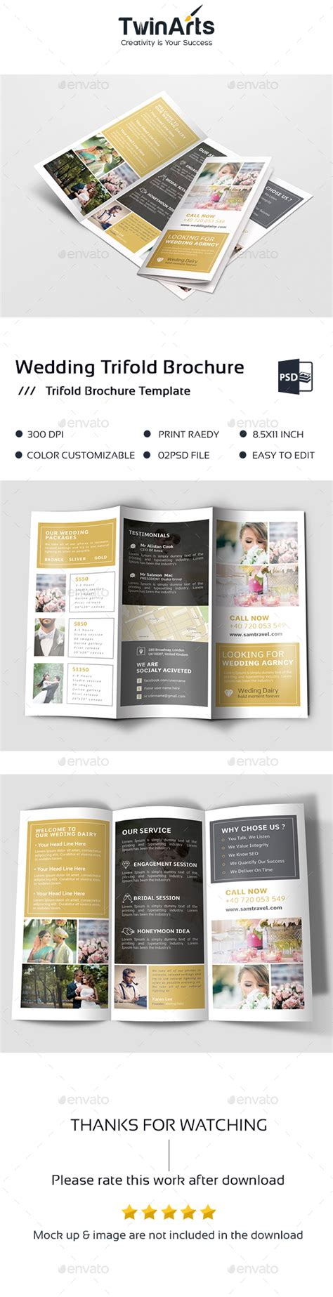 Wedding Menu Brochure by Wedding Trifold Brochure By Arts Graphicriver