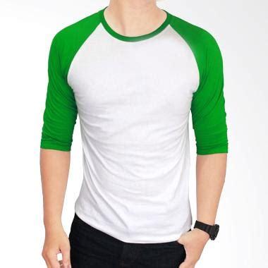 Kaos Polos Cotton Combad 20s Putih Size S jual gudang fashion pol 28 kaos polos cotton combed 20s putih kombinasi hijau raglan