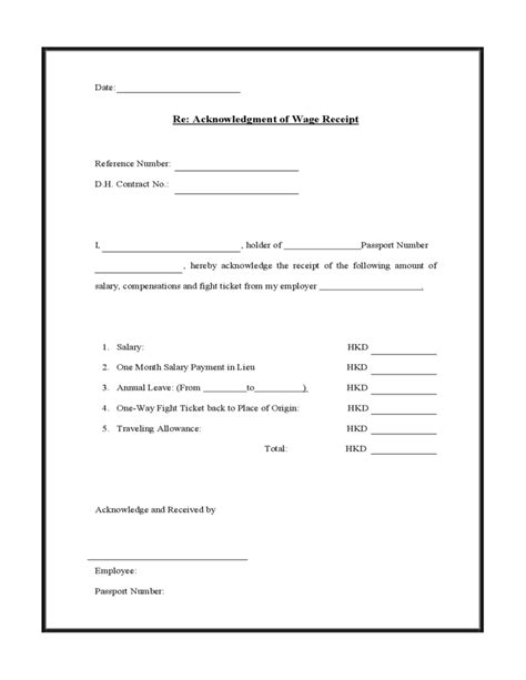 salary receipt template us acknowledgment of wage receipt free