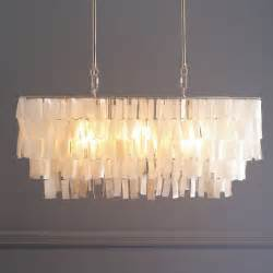 Large White Chandelier Large Rectangle Hanging Capiz Chandelier White West Elm