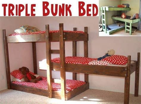 diy triple bunk beds diy space saving triple bunk bed free plan