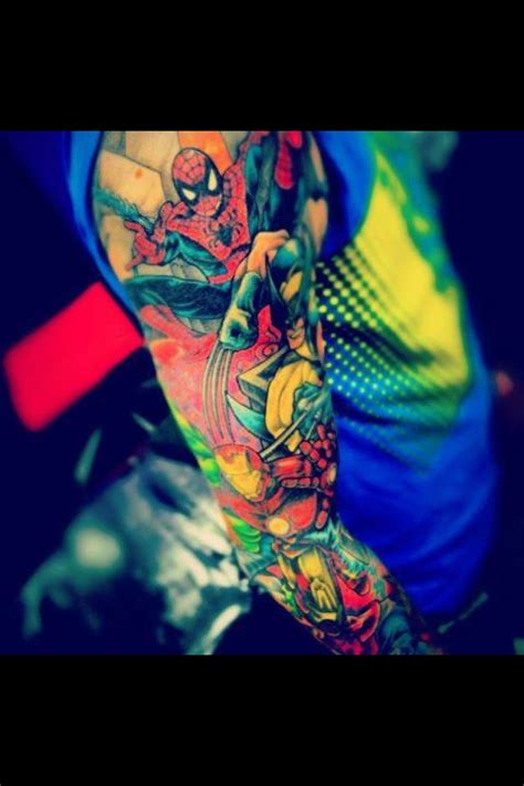 spider man iron man amp wolverine tattoo sleeve comic
