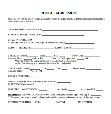 printable rental agreement template sle blank rental agreement 8 free documents in pdf