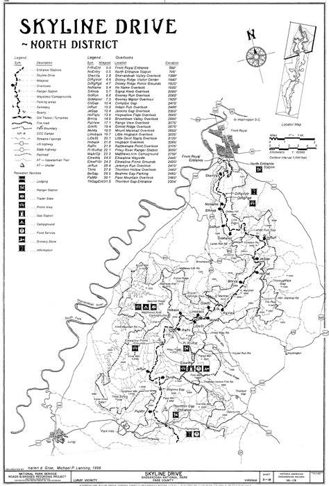 skyline drive map shenandoah national park and sky line drive
