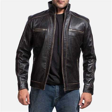 mens leather biker jacket mens brownson leather biker jacket