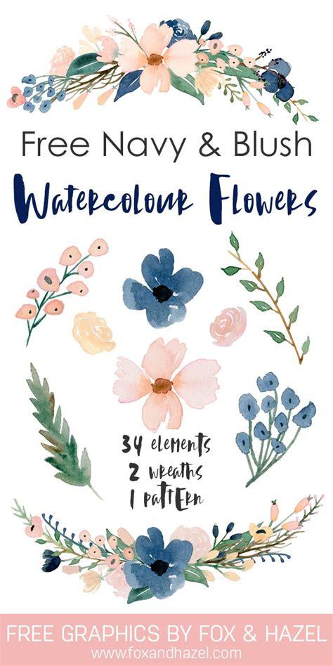 free printable watercolour flowers free beautiful watercolor flowers blush navy