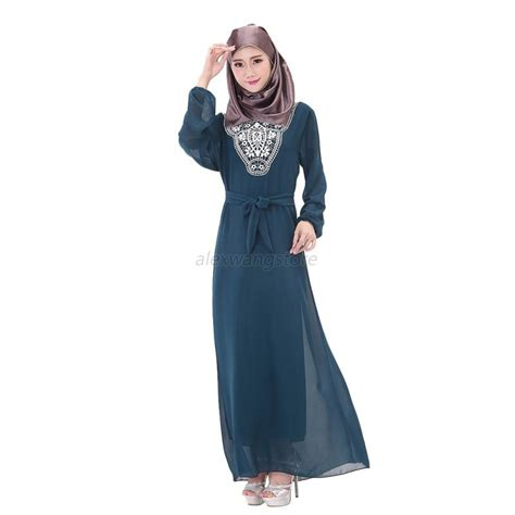 Maxi Dress Muslim Dress Wanita Baty Maxi chic kaftan muslim maxi dress abaya jilbab islamic sleeve dresses ebay