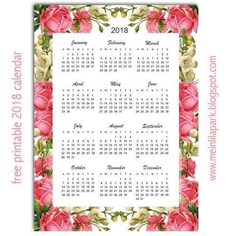 Calendar 2018 Whole Year Free Printable 2018 Calendar Quot Roses Quot Year At A Glance
