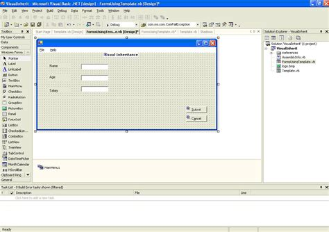 forms templates creating creating template forms using visual inheritance codeproject