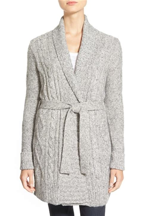 cable knit belted cardigan nydj belted cable knit cardigan in gray lyst