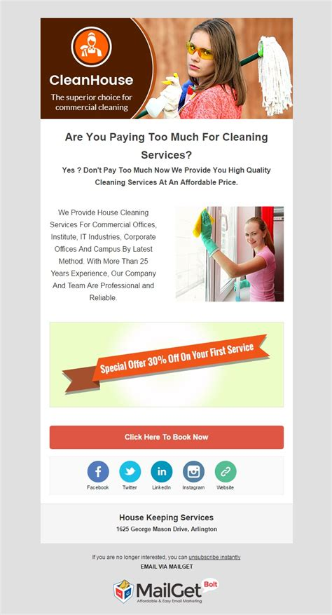 16 Best Home Services Email Templates For Housekeepers Formget Marketing Services Template