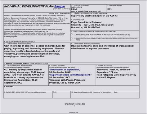 employee professional development plan template career development plan template doc template update234