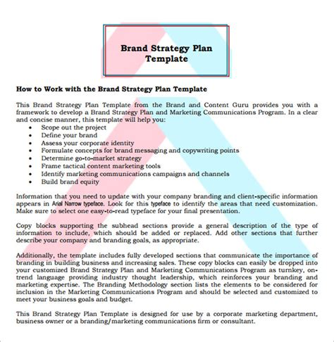 branding strategy template 9 brand strategy templates free word pdf documents
