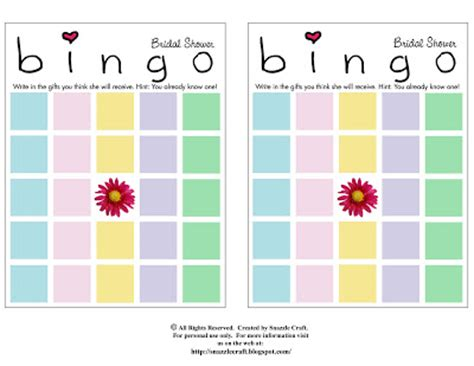 bridal shower gift bingo for 50 guests this version of