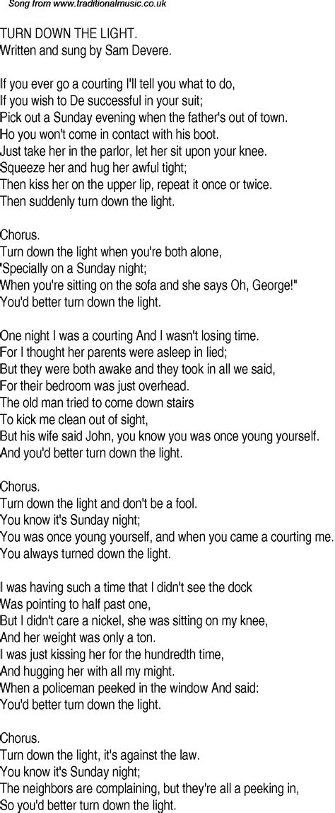 old time song lyrics for 22 turn down the light