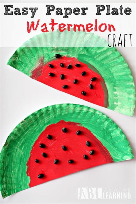 easy and simple paper plate watermelon craft project