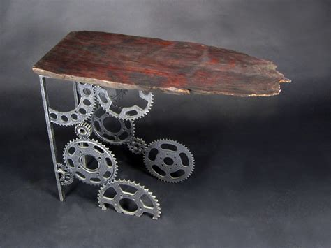 gear table jud turner sculpture gallery quot redwood slab gear tables