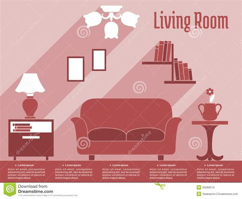text room living room interior flat infographic with text stock vector image 50280514