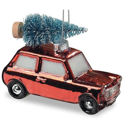 red mini cooper christmas ornament the home for the holidays retro mini cooper car ornament snowy strapped